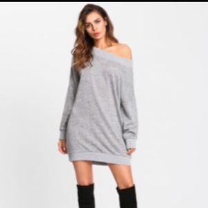 Romwe Off shoulder Marled knit sweater dress